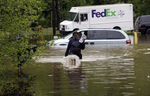 Transportation has been crippled due to flooded roadways, including the train station and Bush International Airport. (Photo courtesy FOXNews.com)