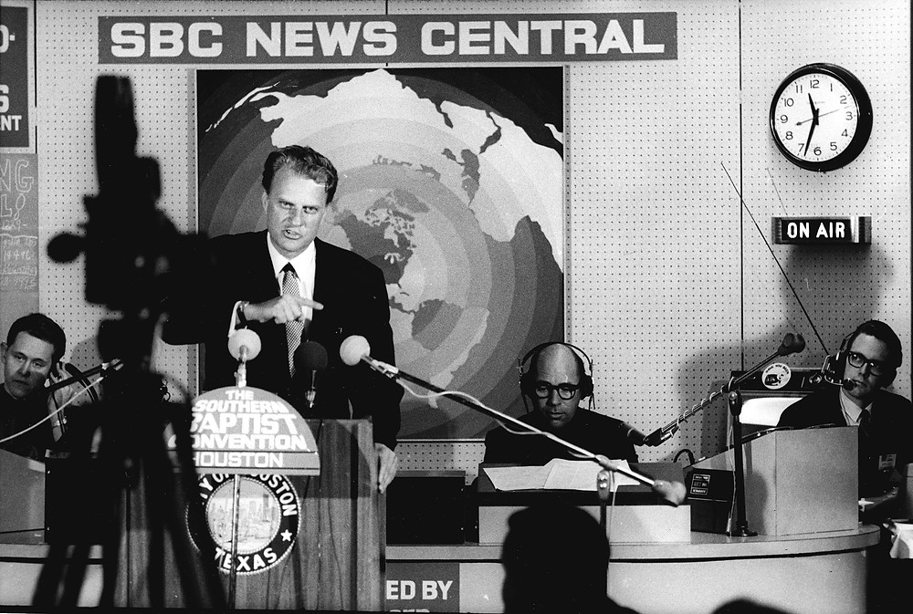 Billy Graham holds a press conference during the 1968 Southern Baptist Convention Annual Meeting in Houston. Graham addressed the final session of the convention June 7. Graham's abiding influence is evident among Baptist leaders. BP file photo