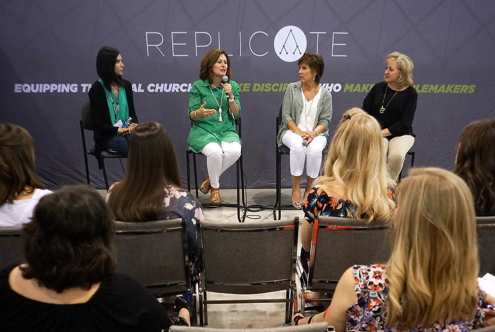 Donna Gaines, second from left, participates in a panel on women's discipleship in the exhibit hall at the 2017 SBC Annual Meeting. This year's exhibit hall will feature panels on a range of issues as well as information about national and international missions and ministry. (BP file photo by Bill Bangham)