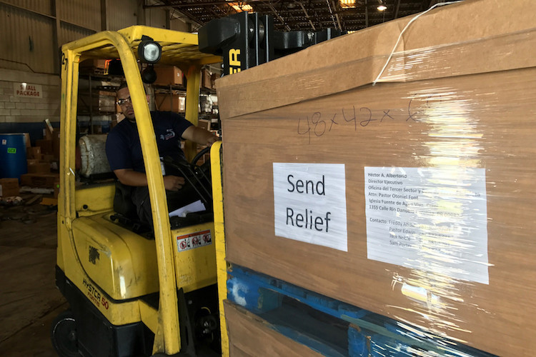 More Send Relief cargo arriving in warehouse today in PR  An airplane full of 50 pallets of supplies arrived on Oct. 8. Those 50 pallets contain supplies going to pastors and churches to help them serve their communities. (Photo courtesy of Sam Porter)