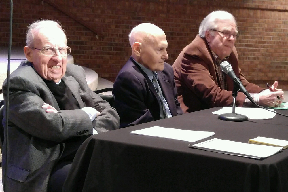 A March 8 panel discussion hosted by the Tennessee Baptist Historical Society featured (from left to right) retired MTSU historian Fred Rolater, retired Belmont historian Albert Wardin and retired Tennessee Baptist Convention executive director James Porch. Photo by Lonnie Wilkey