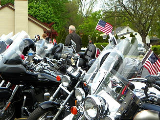 Motorcycles shining brightly in the morning sun at the 8th Annual Biker Blessing. (Photo courtesy Merriman Road Baptist Church)