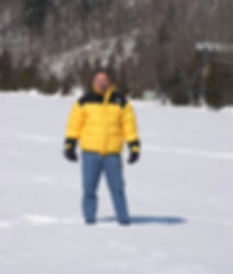 BSCM State Exec Tim Patterson standing on a frozen lake in Vermont. (Photo by Sabrina Patterson)