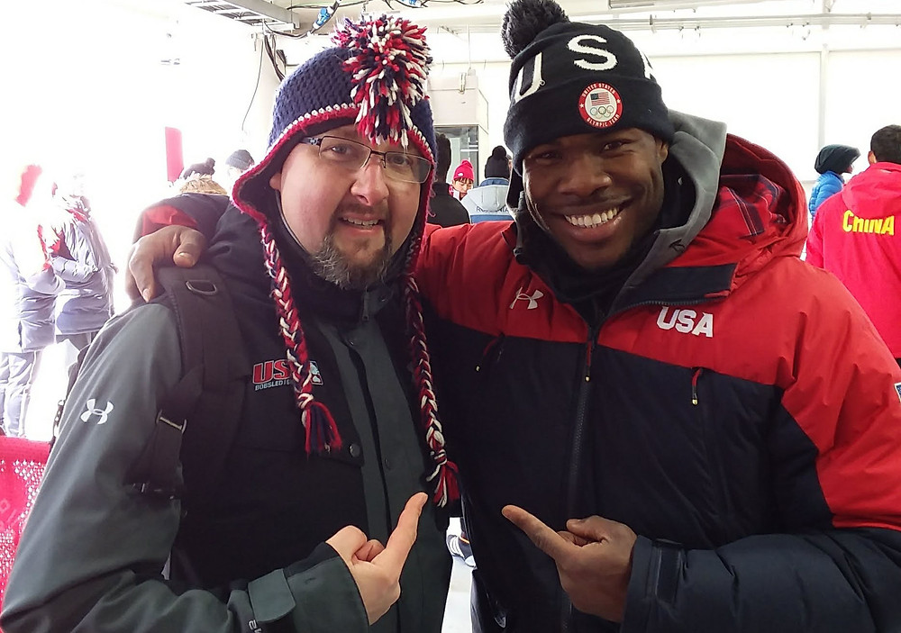 Ryan Schneider, a Southern Baptist pastor near Lake Placid, N.Y., and representatives from the sports ministry Athletes in Action have found ways to encourage Christian athletes and share the Gospel during their time in South Korea. Schneider (left) is pictured here with U.S. bobsledder Nic Taylor in PyeongChang. Submitted photo