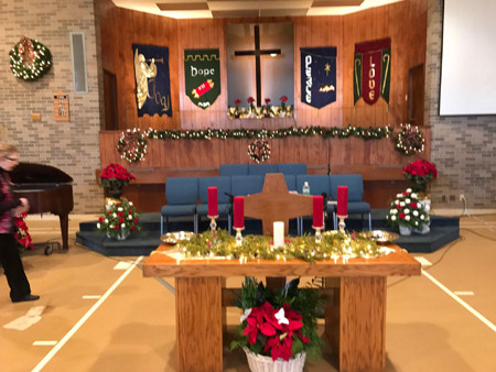 First Baptist Church of Trenton, Mich., transformed a former school's gym into a reverent worship center, shown at Christmas in 2017. (Photo submitted by James Jones.)