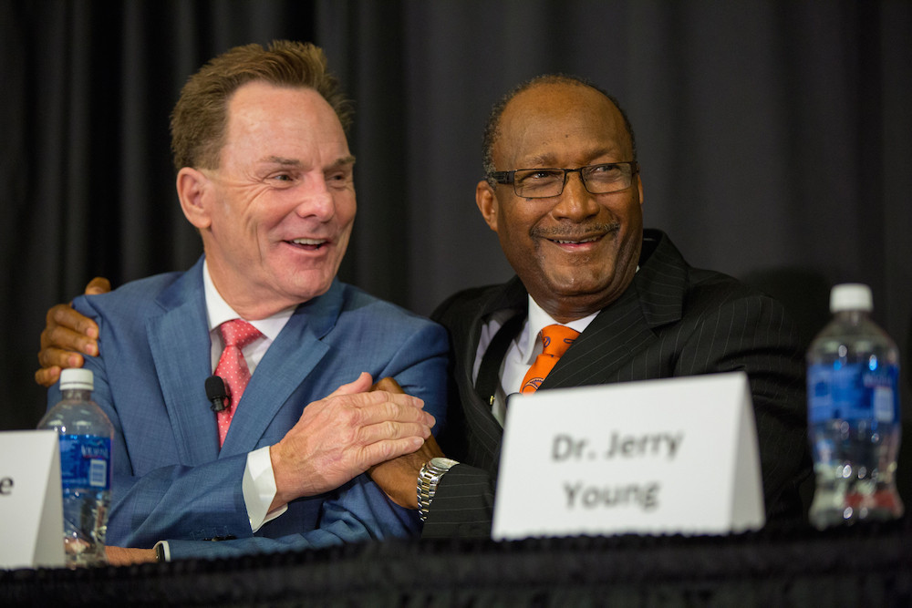 SBC President Ronnie Floyd and Jerry Young, president of the National Baptist Convention USA, Inc., delivered joint keynote addresses at Mission Mississippi's racial reconciliation celebration at the Jackson Convention Center Nov. 4. (Photo courtesy Cross Church)