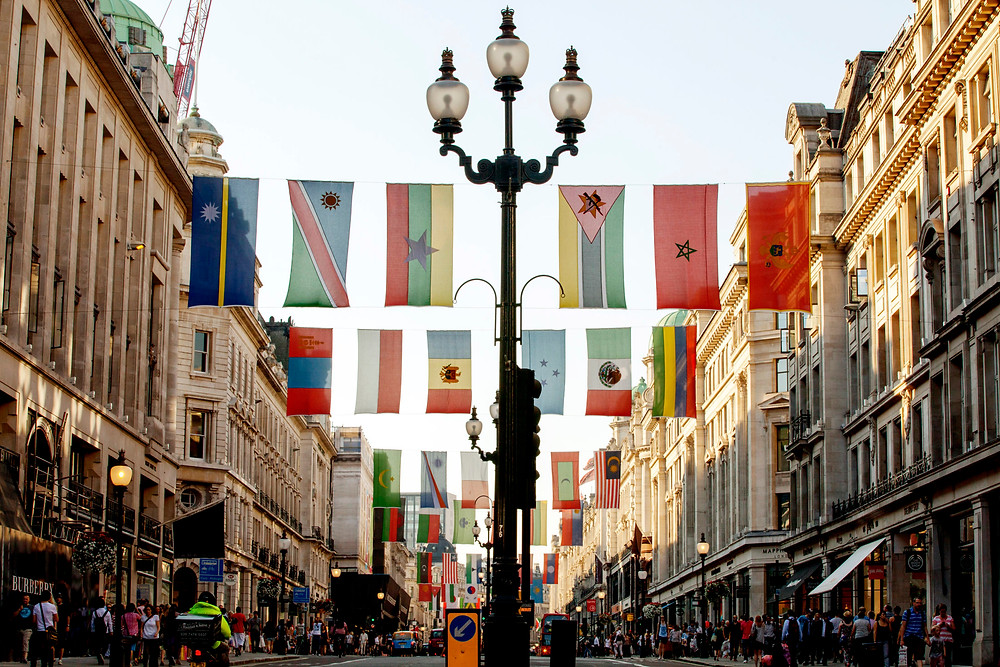 Flags from numerous countries line Regent Street in London, where cultural diversity is celebrated daily, as well as leading up to special events such as the Olympics. More than 300 languages are spoken by the people of London, a vast majority of them who do not attend church or pray. (IMB Photo)