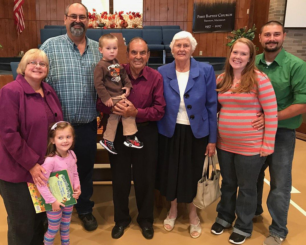 Four generations of the Bibee family joined in the 60th anniversary celebration of First Baptist Church of Trenton in 2017. Three generations still are members of the church, though the patriarchs moved to Tennessee. (Photo submitted by James Jones.)