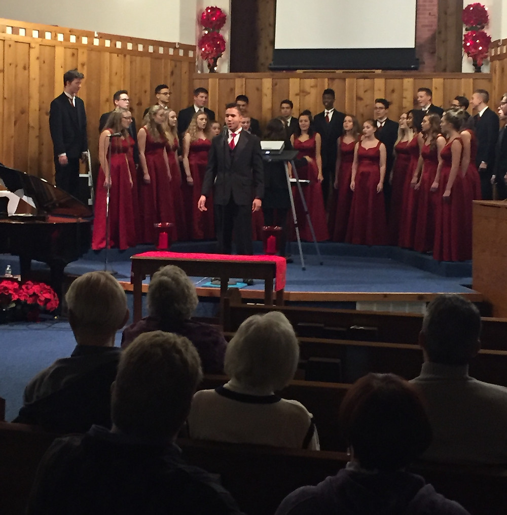 DeWitt High School Choral has provided joyous Christmas music to our celebration every year. (Photo courtesy of FBC DeWitt)