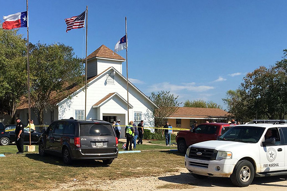 On November 5, a gunman, Devin Patrick Kelley, shot and killed the 26 people and wounded 20 others when he opened fire during Sunday service at the church. (Photo courtesy of CNBC.com)