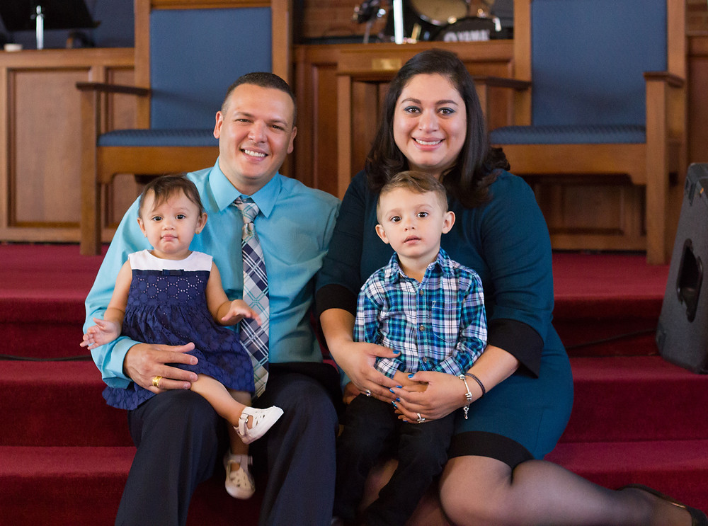 Jorge Santiago, his wife Rebeca and their two children, Sebastian and Sophia, take a family photo after his ordination in Maryland before moving in July to serve as church planting missionaries in Puerto Rico -- then came Hurricane Maria on Sept. 20, prompting the North American Mission Board couple to move into full-scale disaster relief ministry. (Photo courtesy of Jorge Santiago)