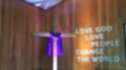 Southefield Baptist Church has a constant reminder on the wall of the worship center to love one another. (Photo courtesy Southfield Baptist Church)