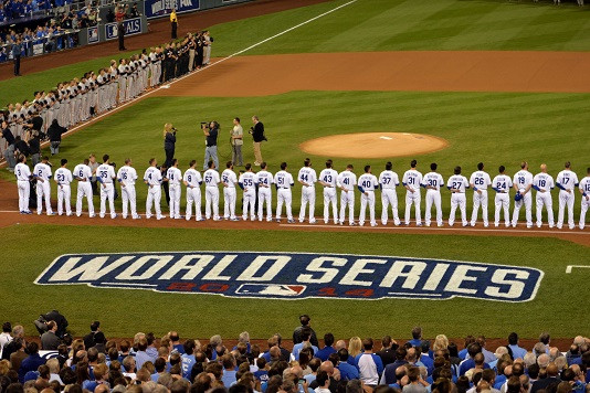 Teams line up for the national anthem. (Photo courtesy Fox Sports)