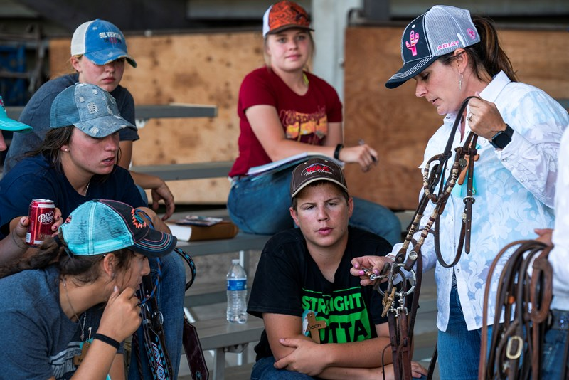 As barrel racers learn about the different types of bits to use with their horses, Audra Campbell of Amarillo, Texas, explains that it's important not only to be well-equipped for their barrel race but in running the Christian race. (Photo by Sue Sprenkle)