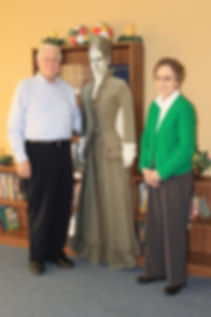 Jimmy Jones, pastor of First Baptist Trenton, and his wife Kay standing alongside a life-size cutout of Annie Armstrong at the grand opening of the new library and media center. (Photo courtesy of GDBA)