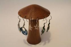 Cedar mushroom earring holder