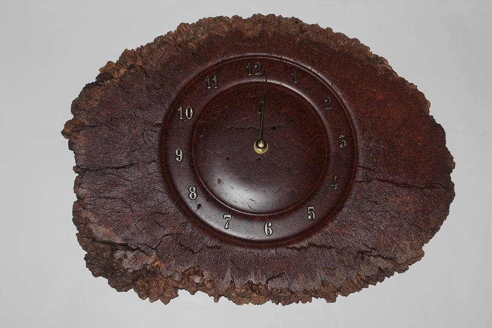 Red mallee burl clock