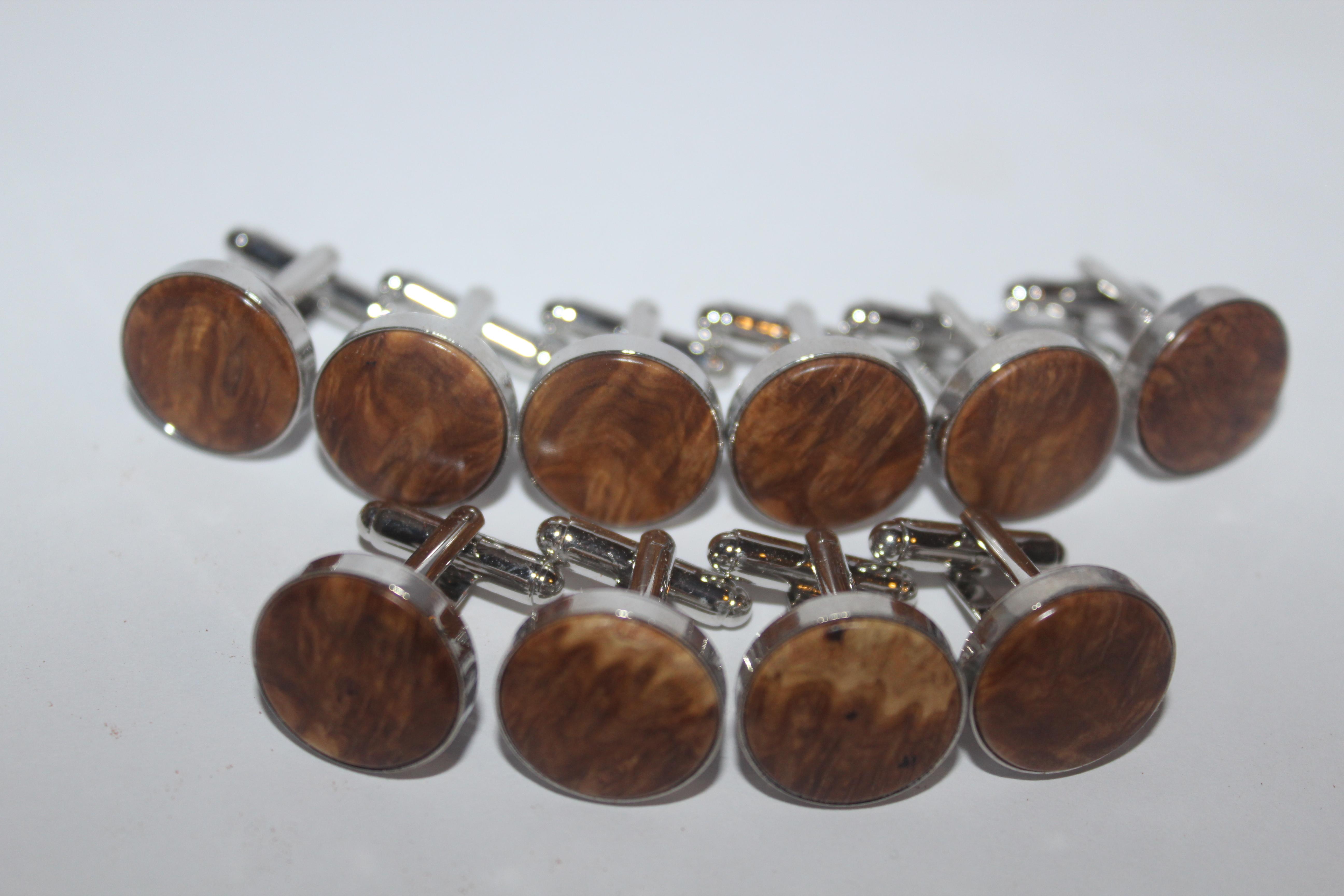 Brown mallee burl cufflinks