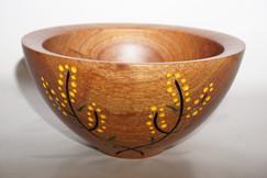 Wattle carved blackwood bowl