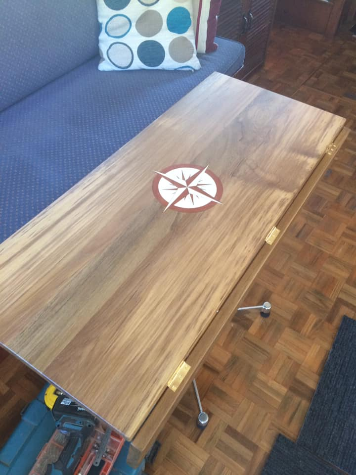 Teak table for a boat