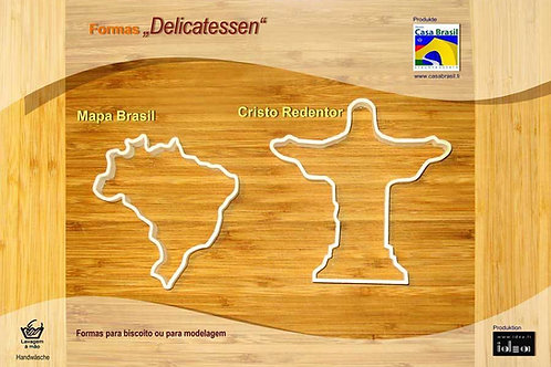 2 formas de biscoito: Mapa do Brasil e Cristo Redentor