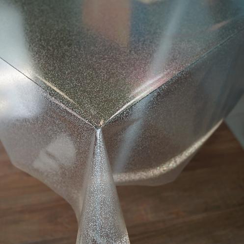 Tovaglia plastificata trasparente Glitterata Argento - rotolo al Mt