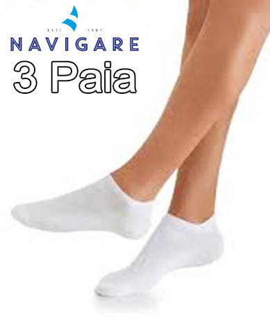 Calze Sneakers Navigare 3 Paia Bianche D392