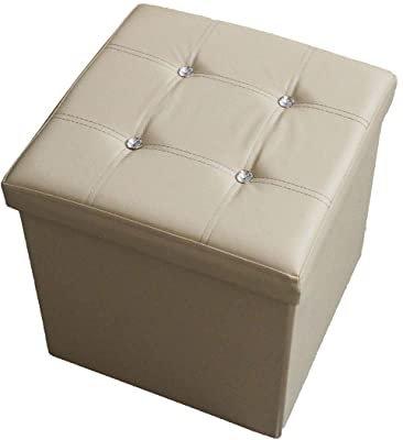 Pouf cubo in ecopelle con brillante, 38x38x38cm