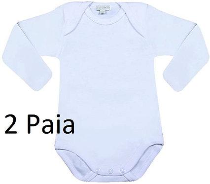 Coppia Body Baby in Cotone Felpato Manica Lunga Bianco D417