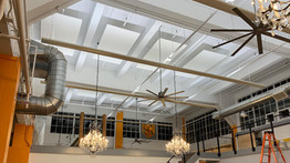 Overhead acoustic ceiling clouds