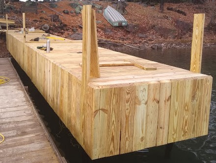 Cedar steel dock decked & staved (2)
