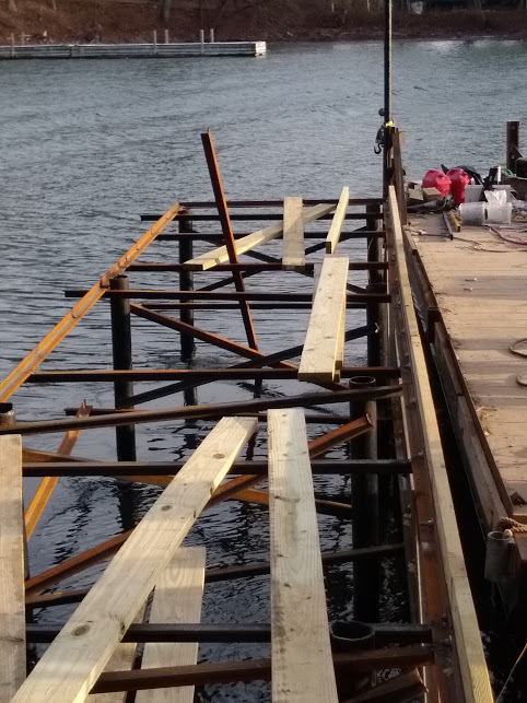 Cedar steel dock frame 2