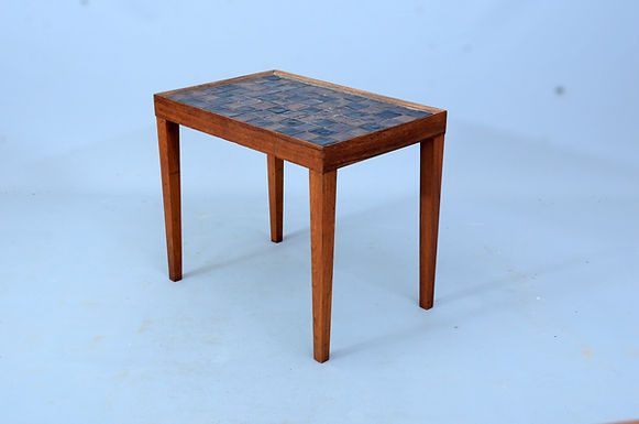 Danish Rosewood table with Handmade glazed tiles