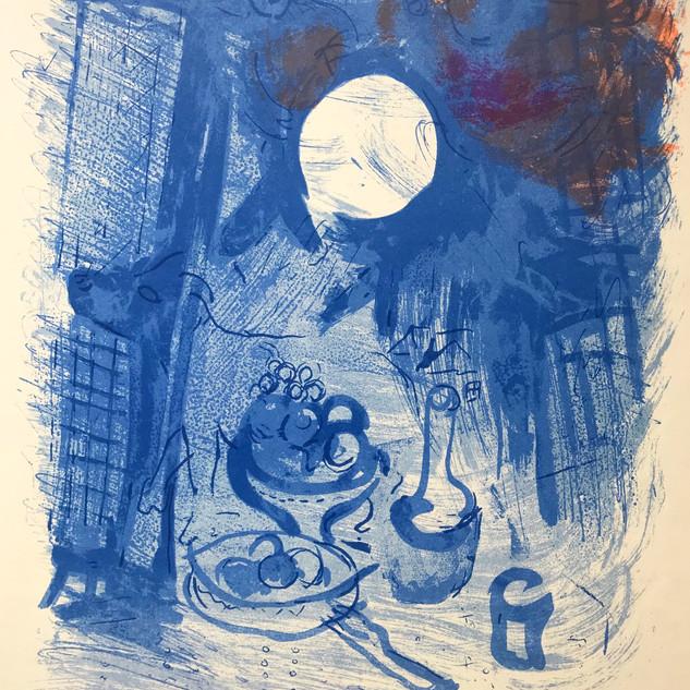 Chagall still life in blue