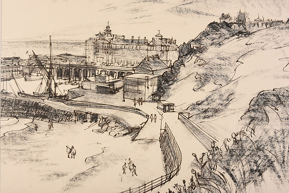 Felixstowe by Fyffe Christie 1967 Signed  Charcoal on paper