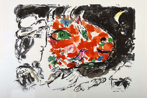 Marc Chagall, Woman, Cow, Moon, original lithograph, 1972