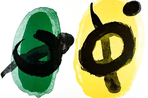 Joan Miró, abstract green and yellow, 1961
