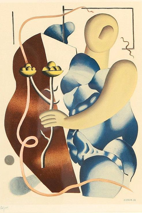 Fernand Leger,  La femme tenant une fleur, 1955