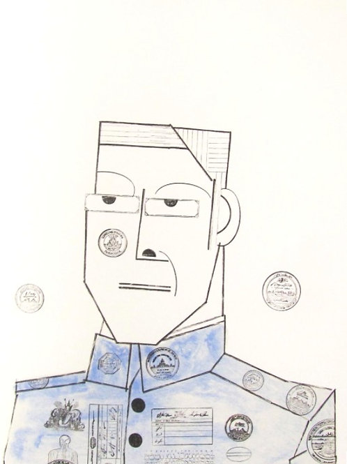 Saul Steinberg, Portrait of an army officer, 1970
