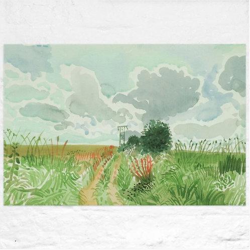 David Hockney, Cart Track and Pylon (from Midsummer: East Yorkshire)