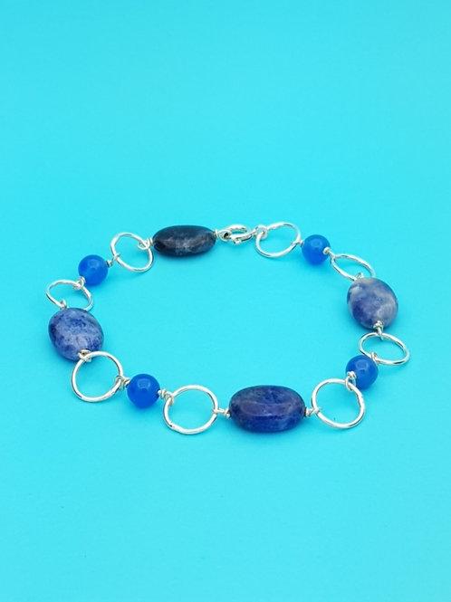Pulsera Sodalita y Ágata azul