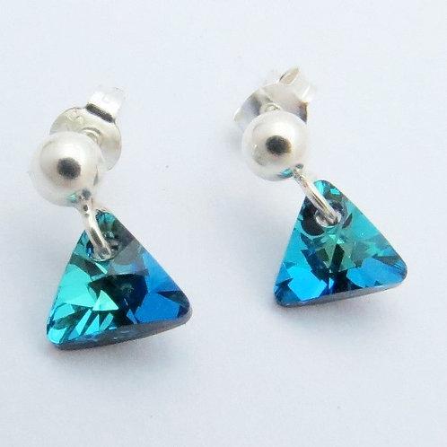 Triángulos en cristal Swarovski Azul océano