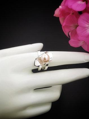 Anillo Dualidad perla rosa y blanca