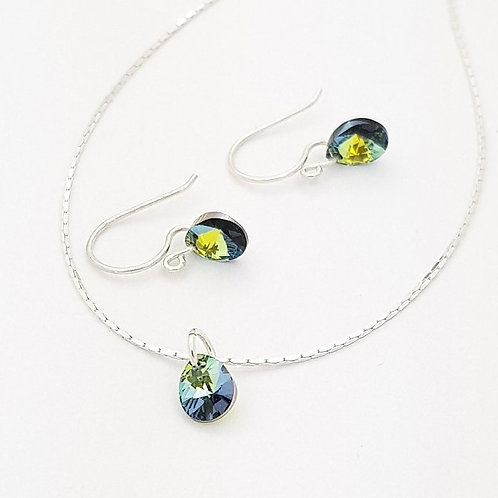 Lagrimas en cristal Swarovski Verdes tornasol