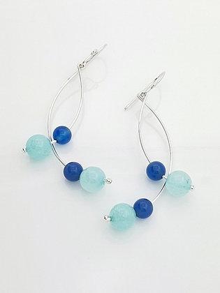 Aretes Curvos Ágata Celeste y Ágata Azul