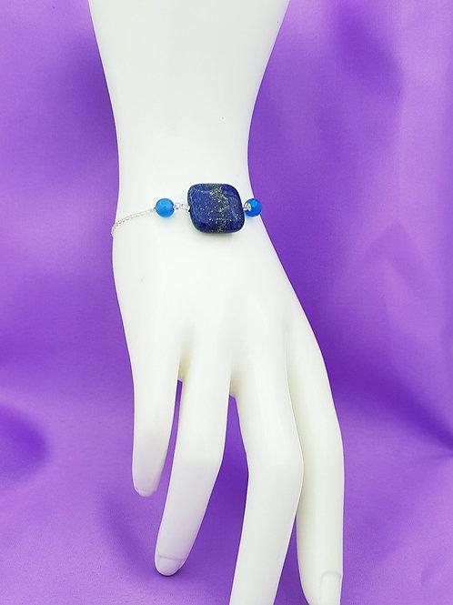 Pulsera Lapislázuli y ágata azul