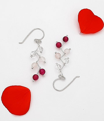 Aretes zig - zag Cuarsos rosa, cristal y ágata fucsia