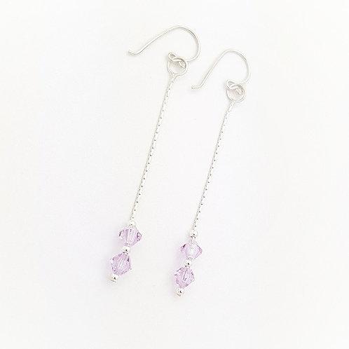 Aretes rombo cristal Swarovski lila