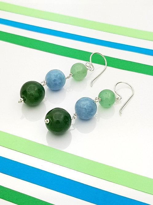 Aretes Tres Piedras Aventurina Ágata Celeste y verde