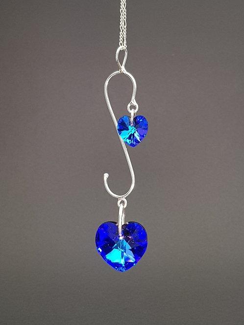 Aderezo doble Corazón Violeta cristal Swarovski